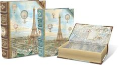 Punch Studio Balloons Over Paris Large Set of 3 Nesting Book Boxes