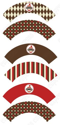 INSTANT DONWLOAD diy Sock Monkey Birthday Party PRINTABLE Cupcake Wrappers  brown cream red monkey  - Cupcake Express via Etsy