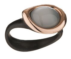 Black plated silver ring with rose gold and moonstone - from Fluidity Collection