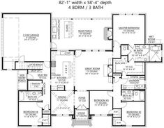 The excellent 1-story home's floor plan has 2666 square feet of heated and cooled living space with great features. #houseplan #floorplan