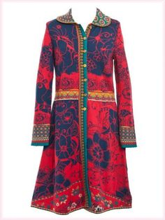 Ivko long jacquard jacket with collar marine