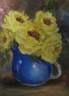 Still Life Painting of Yellow Roses in Cobalt by ChatterBoxArt