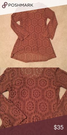 Blu Pepper Lace Blouse Bell sleeves, longer in back than in front.  Built in camisole. Blu Pepper Tops Blouses