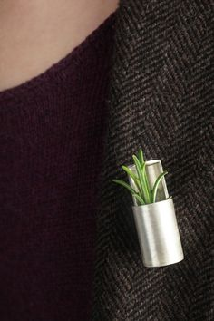 """Scent vessel"" by Anna Brimley. Put a sprig of herb or plant in this portable brooch/vase Contemporary Jewellery, Modern Jewelry, Metal Jewelry, Jewelry Art, Silver Jewelry, Vintage Jewelry, Handmade Jewelry, Jewelry Design, Unusual Jewelry"