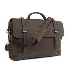 Men's Brown Genuine Leather Flap-Over Laptop Briefcases Bag Tote Shoulder Messenger Bag *** For more information, visit now : Valentine Gifts