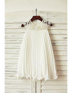 Sheath/Column Knee-length Flower Girl Dress - Chiffon Short Sleeve 2016 - $69.99
