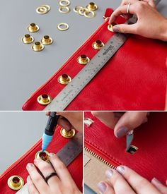 Add grommets to a leather clutch—so easy!Are Grommets the New Studs? Leather Bag Tutorial, Leather Bag Pattern, Sewing Leather, Leather Clutch, Leather Craft, Sewing Hacks, Sewing Tutorials, Leather Bags Handmade, Leather Projects