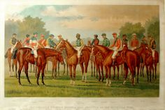 Currier & Ives — Celebrated Winning Horses and Jockeys of the American Turf. Published:  New York  1889 Medium:  Engravings Dimensions:  20 x 34 inches (image size)