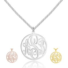 Sterling Silver Monogram Circle Pendant Necklace – Sparkle & Jade