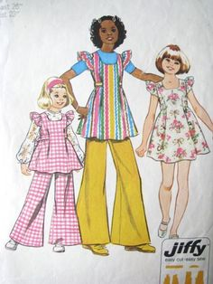 Simplicity 5483 Girls 7 Smock Dress Tunic Bell Bottom Pants Pattern | ColorMeVintage - Supplies on ArtFire