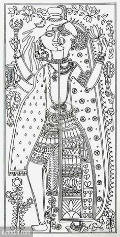 New Drawing Flowers Pencil Adult Coloring 16 Ideas Indian Artwork, Indian Folk Art, Indian Art Paintings, Madhubani Art, Madhubani Painting, Om Namah Shivaya, Art Indien, Kalamkari Painting, Kerala Mural Painting