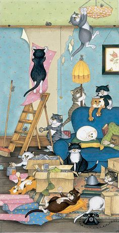 Linda Jane Smith - Room for Improvement: Graphic Print. Limited Edition Signed and Numbered. I Love Cats, Crazy Cats, Cool Cats, Silly Cats, Image Chat, Gatos Cats, Photo Chat, Here Kitty Kitty, Cat Drawing