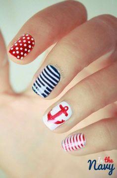 Decoracion de uñas al estilo marinero. #nailart #uñas #estetica