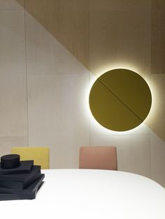 Arper Milano Salone del Mobile 2015 / Parentesit wall panel with back light and speakers by lievore Altherr Molina