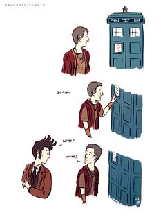 Soon.... (Not sure who the artist is, but it's pretty funny.) - Imgur Sad Stories, Doctor Who Funny, Torchwood, Dr Who, Tardis, Clock, Nerd, Fingers, Humour