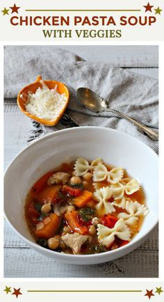 This chicken soup with pasta and vegetables is hearty, delicious and healthy. Take a look and see why it's so special. This soup recipe is beautiful enough for entertaining. Beef Soup Recipes, Cooked Chicken Recipes, Easy Salad Recipes, Healthy Soup Recipes, Clean Eating Recipes, Veggie Recipes, Pasta Recipes, Yummy Recipes, Dinner Recipes