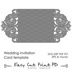 Wedding invitation Pattern Card Template Lace от EasyCutPrintPD