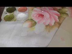 Pintura em tecido. Aprenda pintar botões, rosa virada, folhas e o fundo! - YouTube