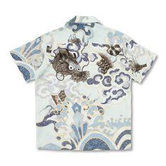和柄 京友禅アロハシャツ <意休の龍/水色> Aloha Shirt, Work Shirts, Hawaiian, Button Down Shirt, Men Casual, Mens Tops, Fashion, Block Prints, Shirts