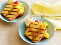 Grilled Pineapple with Pound Cake and Rum-Caramel Sauce from CookingChannelTV.com