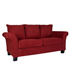 Portfolio Provant Flared Arm Crimson Red Microfiber Sofa - Overstock Shopping - Great Deals on PORTFOLIO Sofas & Loveseats. (Surrounded by ivory chairs and chaise)