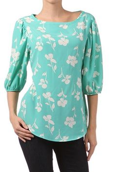 b42d15290b854 EVERLY FLORAL PRINT BOAT NECK TOP.  24.00. Boat Neck Tops