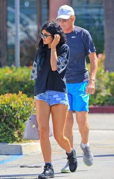Bonding: Kylie Jenner enjoyed some one-on-one time with father Bruce in Calabasas on Saturday