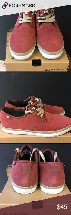 Quiksilver Shorebreak Suede *Brand new with tags *Red suede+camel laces and trim+white sole *Ankle cut, perfect Spring/Summer suede Quiksilver Shoes Sneakers