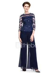 Guaina / colonna madre del merletto in chiffon lunghezza della caviglia del vestito dalla sposa con bordare da lan ting bride® del 2018 a €88.35