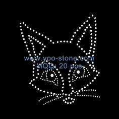 Newest Design Fox Rhinestone Transfer Wholesale, Iron On Motif Patches