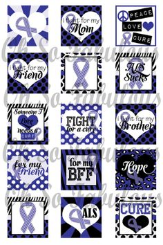 ALS Awareness Blue Ribbon 1 inch Squares Images by OhSoFabulous
