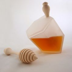 "Frosted Glass Hive Honey Jar: Made by beekeepers & inspired by the complex ""geometry"" bees use in making their hive. Bee's Butt Honey Dipper is made from sustainably raised American Sugar Maple. Honey Container, Rosh Hashanah, Bees Knees, Frosted Glass, Clear Glass, Bee Keeping, Gifts For Girls, Honeycomb, Sweet Home"
