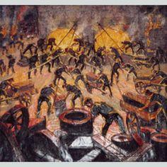Cargando el horno de acero por Benito Quinquela Martín