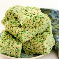Lime Green Rice Crisp Bars