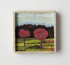 "Barbara Gilhooly, ""Two Pink Trees,"" acrylic, ink carving on wood. 2008"