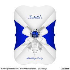 Shop Birthday Party Royal Blue White Diamond Pearl Invitation created by Zizzago. Fancy Wedding Invitations, Bachelorette Party Invitations, Quinceanera Invitations, Baby Shower Invitations, Custom Invitations, Invitation Cards, Birthday Invitations, Corporate Invitation, Xmas Cards
