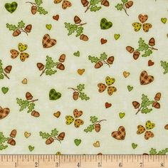 Hedgehugs Tossed Acorns & Hearts Cream from @fabricdotcom  Designed by Beth Logan for Henry Glass & Co., this cotton print fabric is perfect for quilting, apparel and home decor accents. Colors include shades of brown, shades of green, orange, gold, grey and cream.