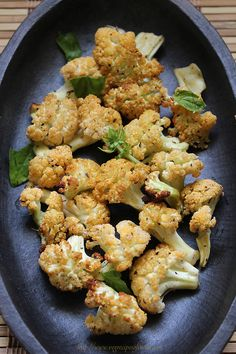 baked cauliflower recipe with step by step photos. baked cauliflower is healthy and light and a vegan recipe. serve baked cauliflower with any dip you like. Baked Cauliflower, Cauliflower Recipes, Vegetable Recipes, Vegetarian Recipes, Healthy Recipes, Delicious Recipes, Indian Cauliflower, Cauliflower Tortillas, Gourmet