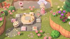 [mi]None of my villagers come to my tea parties, but I'm still happy how this area turned out. Animal Crossing 3ds, Animal Crossing Villagers, Animal Crossing Qr Codes Clothes, Animal Crossing Pocket Camp, Pink Island, Tea Party Setting, Nintendo, Motifs Animal, Path Design
