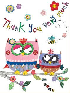 PK71 Thank You Very Much/Owls - Packs of 5 - Rachel Ellen Designs – Card and Stationery Designers and Publishers