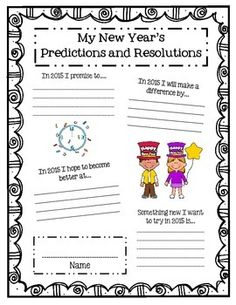 Printable: New Year's Resolution Template (Ages 6-10