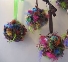 Bird Nesting Balls. These would be so easy to make, and how fun to look for colorful nests in the spring!