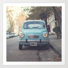 Mint - Blue Retro Fiat Car  Art Print by Andreka - $19.50