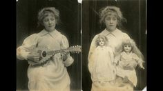 Agatha playing a mandolin; Agatha with her dolls Phoebe and Rosalind. c1898