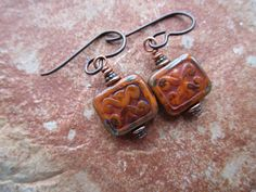 Orange and Green Tiny Tuscan Czech Trix Earrings New Rustic Table Cut Glass Picasso Tile Bead Earrings  Hypoallergenic Niobium French Hooks by suncatchersforears on Etsy