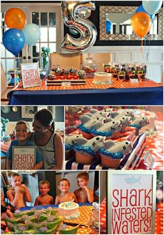 shark birthday party collage 5