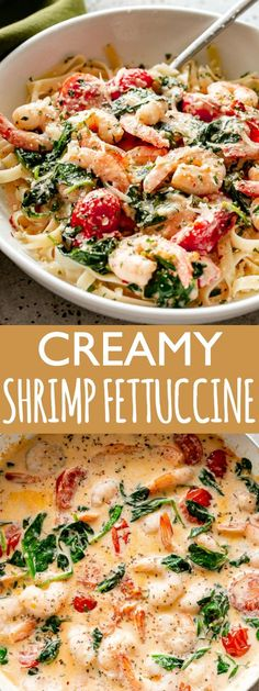 Creamy Shrimp Fettuccine with Spinach and Tomatoes Recipe - For a quick and delicious weeknight dinner, whip up this shrimp fettuccinecoated in a light andcreamysauce prepared with spinach and cherry tomatoes!