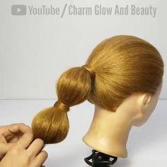 Easy Hairstyle Video, Ponytail Hairstyles Tutorial, Cute Braided Hairstyles, Ponytail Styles, Hairdos, High Fashion Hair, Medium Hair Styles, Long Hair Styles, Bridal Hair Buns