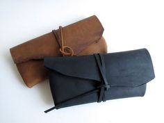 Hand-Stitched Matte Black / Brown Leather Case - featured on front Page of Etsy