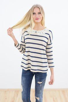 Sweatshirts - Pullover Lotta in beige blau - ein Designerstück von Shoko bei DaWanda